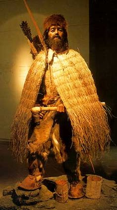 Recreation of clothing of Otzi the Iceman,  3,300 BCE found in the Alps on the Italian/Austrian border