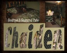 I want these for my son or daughter! Realtree Hardwoods Diamond Plate Children s Wall Decor Letters Camo Room Decor, Camo Rooms, Boys Bedroom Decor, Childrens Room Decor, Wall Decor, Boy Bedrooms, Bedroom Ideas, Bunk Rooms, Boys Hunting Room