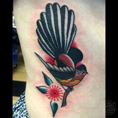 Pohutukawa and Fantail Tattoo by Fabian Bidart Sunset Tattoos, Dad Tattoos, Tatoos, Traditional Tattoo Flowers, Traditional Tattoos, Tatoo Bird, Native Tattoos, Custom Tattoo, Flower Tattoos