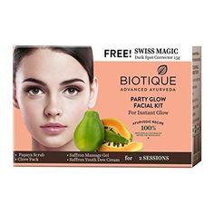 Biotique Party Glow Facial Kit for Instant Glow, with Free Swiss Magic Dark Spot Corrector, Ayurveda, Ayurvedic Recipes, Dark Spot Corrector, Facial Skin Care, Natural Herbs, Real Beauty, Dark Spots, Skin Treatments, Glowing Skin