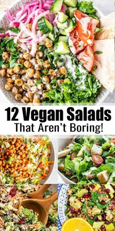 Are you looking for vegan salad recipes that aren't boring or plain? Then this is the perfect post for you! These 12 vegan salad recipes make the perfect lunch or dinner! recipes healthy vegetarian 12 Vegan Salad Recipes That Aren't Boring Salad Recipes For Dinner, Vegan Dinner Recipes, Healthy Salad Recipes, Whole Food Recipes, Diet Recipes, Chicken Salad Recipes, Healthy Food, Healthy Salads For Dinner, Vegan Recipes Healthy Clean Eating