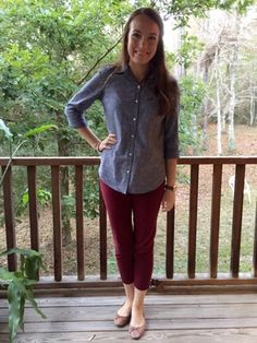 Flats, ankle pants and a classic denim button up shirt.