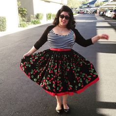 Twirling and moar cherries. #stripesarethenewblack #jennaaaay #pinupgirlclothing #malcomodes #ootdsocialclub