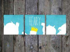 Where the Wild Things Are Nursery Print Set, Wild Things Name Art, Customized Nursery Name Art 8 x 8