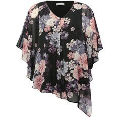 M&Co Plus Asymmetric Floral Sheer Tunic ($40) ❤ liked on Polyvore featuring tops, tunics, black, plus size, floral tops, women's plus size tops, asymmetric top, v neck tunic and womens plus size tunics