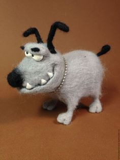 Игрушки животные, ручной работы. Ярмарка Мастеров - ручная работа. Купить Собачка из шерсти. Handmade. Серый, игрушка с юмором, Зубастик