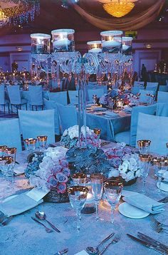 Crystal candelabra with floating candles