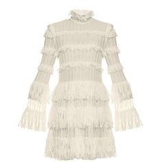 Alexander McQueen Ruffled lace-knit dress (120.175 RUB) ❤ liked on Polyvore featuring dresses, alexander mcqueen, white, victorian dresses, high neck lace dress, white ruffle dress, high neck white dress and tiered lace dresses