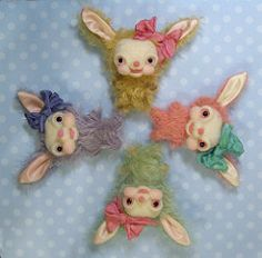 Little Baby Buns (violetpie) Tags: bunnies felting sewing craft mohair