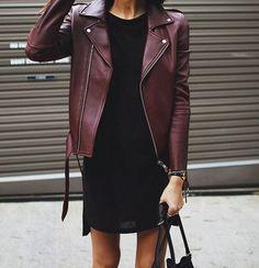 Burgundy leather jacket + mini black dress