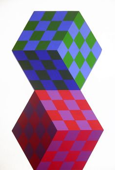 Axo, Oil by Victor Vasarely (1906-1997, Hungary)