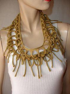 mens or womens shredded fringed jersey necklace , tshirt necklace , jersey scarf , scarflette, tshirt scarf. mustard