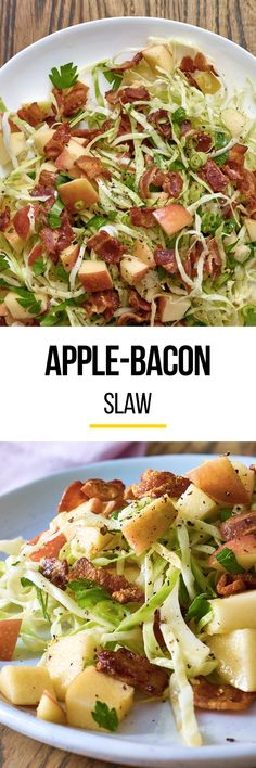 Apple Bacon Slaw Recipe. Your Thanksgiving menu - whether classic or modern - doesn't need salad recipes for ideas for side dishes: it needs this slaw! No sides will top the delicious, healthy flavors and textures in this dish. It's even great for a high fiber lunch to make ahead and pack for work, or a weeknight addition to dinner.