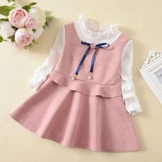 Girls fashion pure color princess party dress