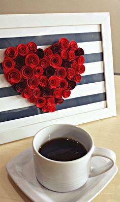 Come fare un quadro con rose di carta per San Valentino - Tutorial - La Figurina