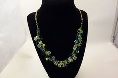 Crocheted green ice necklace by GloriaynBoutique on Etsy