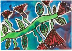 Kereru's kool kids!: Calendar art!  We have made beautiful pohutukawa pictures to celebrate one of our favourite native trees.  After we had drawn our image in black vivid, we soaked the paper in water before using dye to colour it.  This created a lovely washed feather effect with the colours as they blended together.  Finally we used bleach to strip some of the colour back and make our pictures pop!