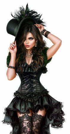 New Digital Art Girl Fantasy Ideas Fantasy Art Women, Beautiful Fantasy Art, Fantasy Girl, Foto Fashion, Fashion Art, Steampunk Fashion, Gothic Fashion, Chica Fantasy, Illustration Mode