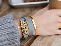 Back in stock! Gold & Gray Stud Wrap Bracelet for the Fitbit Flex