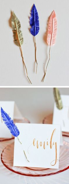 DIY Washi tape feather placecards - could be cute name cards for each kid to hang on the wall with their picture!