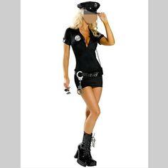 Black Halloween Costumes Women Police Cosplay Costume Dress Cop Uniform Sexy Policewomen Costume Outfit Plus Size Costume #Sexy Cop Halloween Costumes