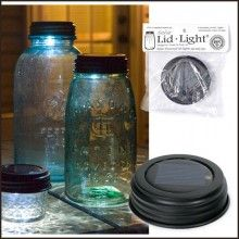 Pinner said: Since we are having an outdoor, evening wedding I am going to use mason jars (that I'm colleting) and put something fun inside, maybe some wildflowers and these solar light lids for some lighting features!! So cool!! I will be using mason jars for a lot of other things too!
