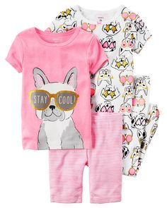 Baby Girl 4-Piece Neon PJs In coordinating prints, this 4-piece set includes two tops, pants and shorts that can be mixed and matched for a variety of comfy bedtime options! Carter's cotton PJs are not flame resistant. But don't worry! They're designed with a snug and stretchy fit for safety and comfort. Carter's polyester is safe and flame resistant. But is it chemically treated? No way!