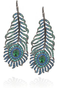 Kenneth Jay Lane | Peacock feather earrings - maybe a bit too modern but I love them - MP