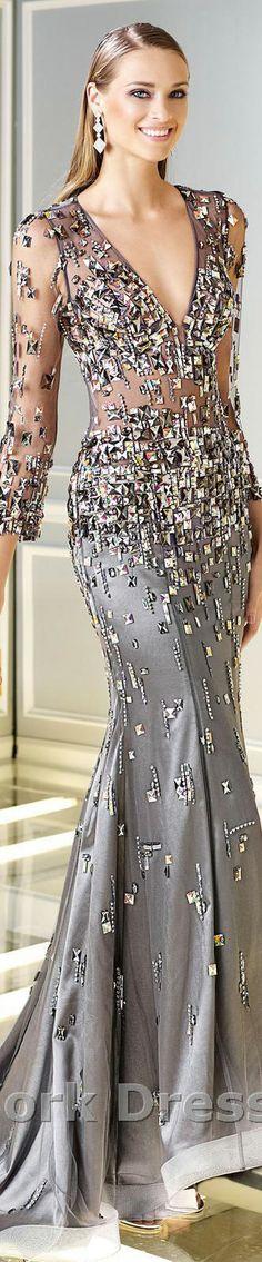 Alyce Paris Design - Beautiful Slate Grey Jewel Encrusted Evening Gown - Glitter Glam Perfection! -ShazB