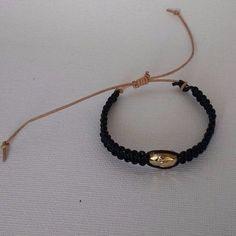 Bracelet Leather Macrame Black with Swarovski Golden Crystal Scarab #La3DesignsHandamde #FashionSurfer