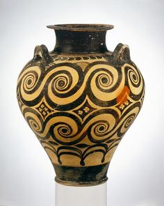 This Minoan vase from 1600 to 1500 B.C. has a swirl pattern painted on it.