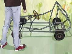 How to Create a Go Kart with a Lawnmower Engine. Though go-karts traditionally use horizontal mount engines, with a little modification, you can install a vertical shaft lawnmower engine to be the driving force behind your homemade racing. Go Kart Designs, Build A Go Kart, Diy Go Kart, Kids Go Cart, Go Kart Kits, Go Kart Engines, Homemade Go Kart, Go Kart Plans, Dirt Bike Girl