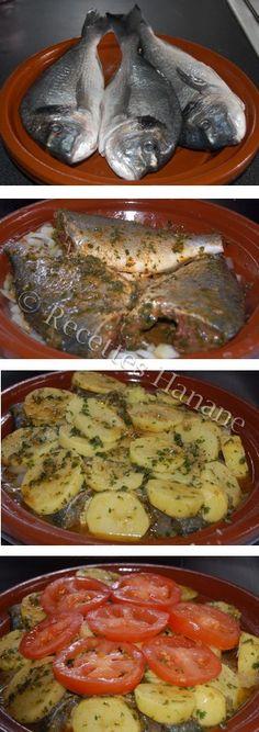 Voici une autre version de cuisson de la daurade (ou dorade), grâce à ce plat traditionnel marocain en terre cuite, les aliments sont parfaitement parfumés et la cuisson est homogène, une recette équilibrée et diététique, facile à réaliser et riche en... Fish Recipes, Seafood Recipes, Cooking Recipes, Healthy Recipes, Fish Tagine, Plats Ramadan, Tunisian Food, Algerian Recipes, Egyptian Food