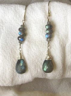 Labradorite Tear Drop Earrings with Stacked by RocksMapsandCrafts, $35.00