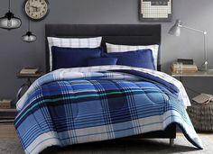 Light Dark Blue White Green Striped Plaid 6 Piece Comforter Bedding Twin XL Sz #Unbranded #Contemporary Light In The Dark, Dark Blue, Blue And White, Plaid Comforter, College Bedding, Green Stripes, Twin Xl, Decorative Pillows, Comforters