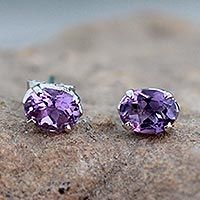 Amethyst stud earrings, 'Scintillate' - 2 Carat Amethyst Stud Earrings from India