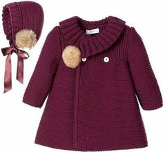 """Детское пальто спицами """"Baby girls burgundy red traditional heritage style knitted coat and bonnet set by Foque. This charming styled outfit is ideal to be Baby Knitting Patterns, Coat Patterns, Knitting For Kids, Crochet For Kids, Knitting Ideas, Crochet Patterns, Knitting Toys, Knitting Sweaters, Crochet Ideas"""