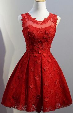 Red Prom Dresses, Short Prom Dresses, Lace Prom Dresses, Prom Dresses Short, Red Lace Prom dresses, Lace Homecoming Dresses, Short Homecoming Dresses, Homecoming Dresses Short, Short Red Prom Dresses, Red Lace dresses, Red Homecoming Dresses, Red Homecoming Dress Scoop Lace Hand-Made Flower Short Prom Dress Party Dress