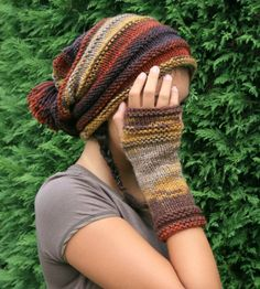 Long Fingerless Gloves Striped in Autumn Colors  by ForYouDesign