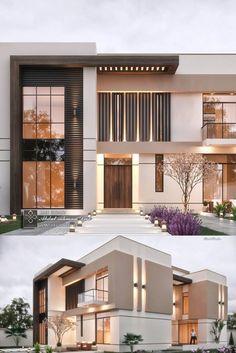 Elegant Modern Villa in KSA Modern house design - Modern House Facades, Modern Exterior House Designs, Modern Architecture House, Dream House Exterior, Facade Architecture, Modern House Plans, Residential Architecture, Cultural Architecture, Big Modern Houses