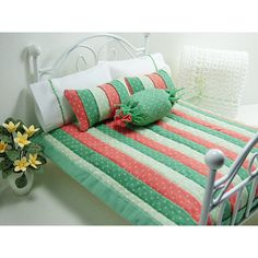 Dollhouse Miniature Spring Quilt Coral Green 12 Scale Doll House... ($36) ❤ liked on Polyvore featuring home, bed & bath, bedding, green pillow cases, spring bedding, green pillowcases, mini pillow cases and green bedding