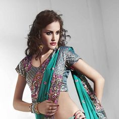 Turquoise #Net Ready Pleated #Saree with Blouse