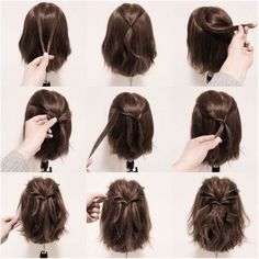 25 fast hairstyles for medium and long hair for every day. 25 fast hairstyles for medium and long hair for every day. 25 fast hairstyles for medium and long hair for every day. 25 fast hairstyles for medium and long hair for every day. Short Hair Styles Easy, Braids For Short Hair, Medium Hair Styles, Curly Hair Styles, Long Ponytails, Twisted Ponytail, Short Hair Tutorials, How To Style Short Hair, Styling Short Hair Bob
