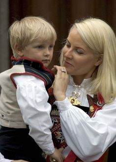 Prince Sverre Magnus of Norway with his mother Crown Princess Mette Marit of Norway.