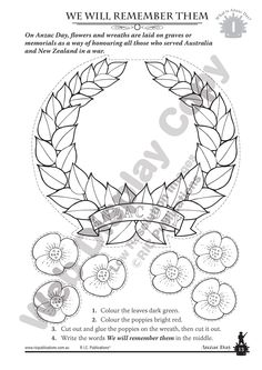 Educational Resources - Publishers of teacher resources and student workbooks and classroom supplies for primary and secondary schools. Poppy Wreath, Anzac Day, Classroom Supplies, Year 6, Australia Day, Remembrance Day, Teaching History, Art Activities, Colouring Pages