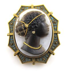 Blackamoor Stone Cameo Enamel 18K Yellow Gold Black African Woman Antique   ...Sold for $1500