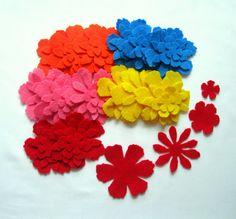 Felt Flowers   set of 60pcs  Spring flowers  by LadybugOnChamomile, $6.99
