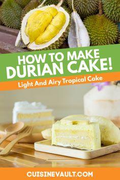Easy Cake Recipes, Fruit Recipes, Baking Recipes, Dessert Recipes, Thai Recipes, Durian Recipe, Asian Desserts, Indonesian Desserts, Desert Recipes