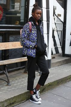 Pin for Later: See All the Celebrities at London Fashion Week Leomie Anderson Arriving at the BFC show space for the Ashish show.