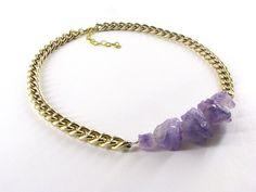 Amethyst Nugget Necklace, Gold Chunky Chain, Gemstone Crystal Healing, Purple Raw Stones - Handmade
